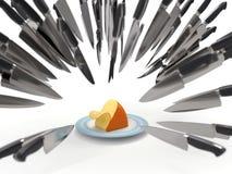 Noże atakują ser Zdjęcie Stock