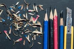 Nożowego krajacza ołówkowa ostrzarka - akcyjny wizerunek Zdjęcie Royalty Free