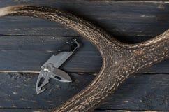 Nożowy wielofunkcyjny narzędzie i jeleni róg Fotografia Royalty Free
