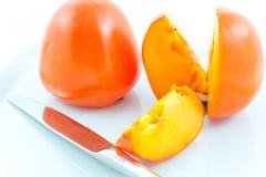 nożowych persimmons dojrzała stal dwa Obraz Royalty Free