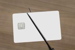 Nożyce ciie kartę debetową lub kredyt Zdjęcie Stock