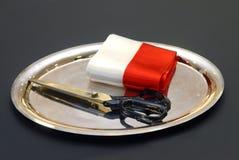 Nożyce faborek, Polski wakacyjny dzień, przygotowywający otwierać wydarzenie, zdjęcie royalty free