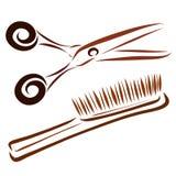 Nożyce i grępla rysuje w gładkich liniach, royalty ilustracja