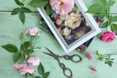 Nożyce, różowe róże i książki, Obraz Royalty Free