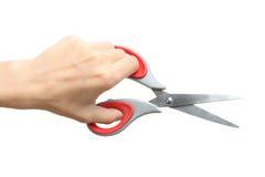 Nożyce w lewej ręce Fotografia Stock