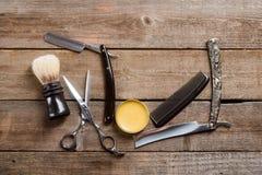 Nożyce, wosk i grępla, obrazy stock