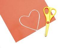 Nożycowy czerwony serce valentine kolor żółty i Zdjęcie Stock