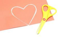 Nożycowy czerwony serce valentine kolor żółty i Obraz Royalty Free