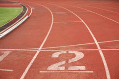 No.2 in running track. Athletics stadium running track ruber standard red color royalty free stock photo