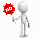 No. Little 3d man holding a no signboard in red color, concept of negative reply and refusal Royalty Free Stock Photos
