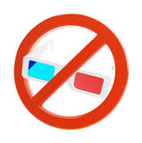 No 3d glasses. On a white background Royalty Free Stock Photography