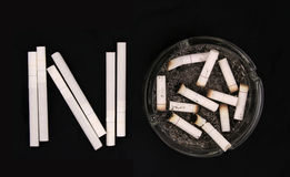 No. Cigarettes and ashtray with butts Royalty Free Stock Images