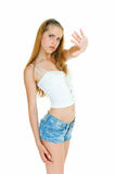 No. Young pretty girl shows sign of protest Stock Photos