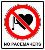 No access with cardiac pacemaker sign. In red circle prohibition symbol danger banner stock illustration