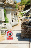 No access sign at entrance to ancient ruins Stock Photos