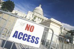 No Access Sign at the United States Capitol Building, Washington, D.C. Stock Images