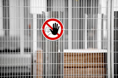 No Access Zone. No access for unauthorized persons warning sign Stock Photo