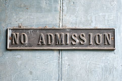 No Admission Stock Photo