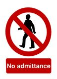 No admittance. Isolated \No admittance\ sign Royalty Free Stock Photos