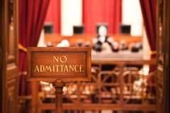 Free No Admittance Sign At Court Hearing Royalty Free Stock Image - 110983566