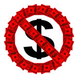 No Admittance sign made of hundred dollar banknotes Stock Image