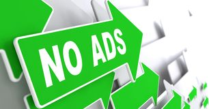 No Ads on Green Direction Arrow Sign. Royalty Free Stock Photo