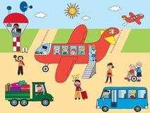 No aeroporto ilustração do vetor