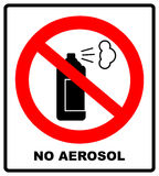 No aerosol spray sign, No alcohol sign vector illustration, red prohibition circle Stock Image