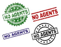 Scratched Textured NO AGENTS Seal Stamps. NO AGENTS seal prints with distress style. Black, green,red,blue vector rubber prints of NO AGENTS title with grunge royalty free illustration