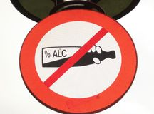 No alcohol. Warning sign in the park - no alcohol Stock Photography