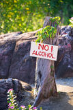 No alcohol. Anti-alcohol banner with the warning text no alcohol stock photo