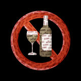 No alcohol. Bottle sign made with tags Royalty Free Stock Images