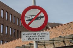 No Alcohol Drinking Allowed Sign At The Bijlmer Amsterdam South East The Netherlands. 2018 stock photos