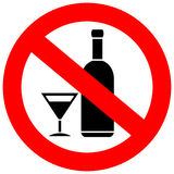 No alcohol drinks. Sign isolated on white background Royalty Free Stock Photo