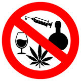 No alcohol and drugs sign Royalty Free Stock Image