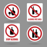 No alcohol and free area vector signs. No alcohol and alcohol free area vector signs. Symbol forbidden alcoholism and booze, ban and stop icons Stock Image