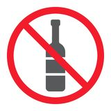 No alcohol glyph icon, prohibition and forbidden. No drink sign vector graphics, a solid pattern on a white background, eps 10 Stock Photos