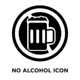 No alcohol icon vector isolated on white background, logo concep. T of No alcohol sign on transparent background, filled black symbol vector illustration