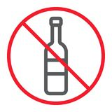 No alcohol line icon, prohibition and forbidden. No drink sign vector graphics, a linear pattern on a white background, eps 10 Stock Illustration