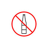 No alcohol line icon, prohibition sign, forbidden. No drink, vector graphics, a linear pattern red on a white background, eps 10 Stock Images