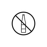 No alcohol line icon, prohibition sign, forbidden. No drink, vector graphics, a linear pattern on a white background, eps 10 Stock Photography