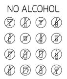 No alcohol related vector icon set. Well-crafted sign in thin line style with editable stroke. Vector symbols isolated on a white background. Simple pictograms Royalty Free Illustration
