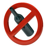 No alcohol sign. Isolated on white background Stock Images