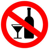 No alcohol sign. Isolated over white Royalty Free Stock Photography