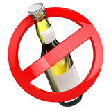 No alcohol sign.  Bottle of beer on white isolated background. Royalty Free Stock Photos
