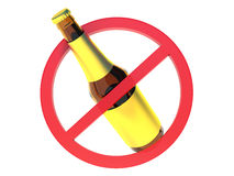 No alcohol sign. Bottle of beer on white isolated background. 3d Royalty Free Stock Images