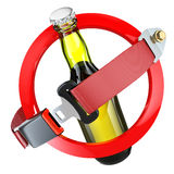No alcohol sign concept. Bottle of beer and safety belt isolated Royalty Free Stock Images