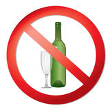 No alcohol sign. With glass and bottle prohibited  symbols in photo realistic style Stock Photography