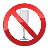No alcohol sign. With glass prohibited  symbols in photo realistic style Stock Image