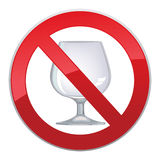 No alcohol sign. With glass prohibited  symbols in photo realistic style Stock Photos